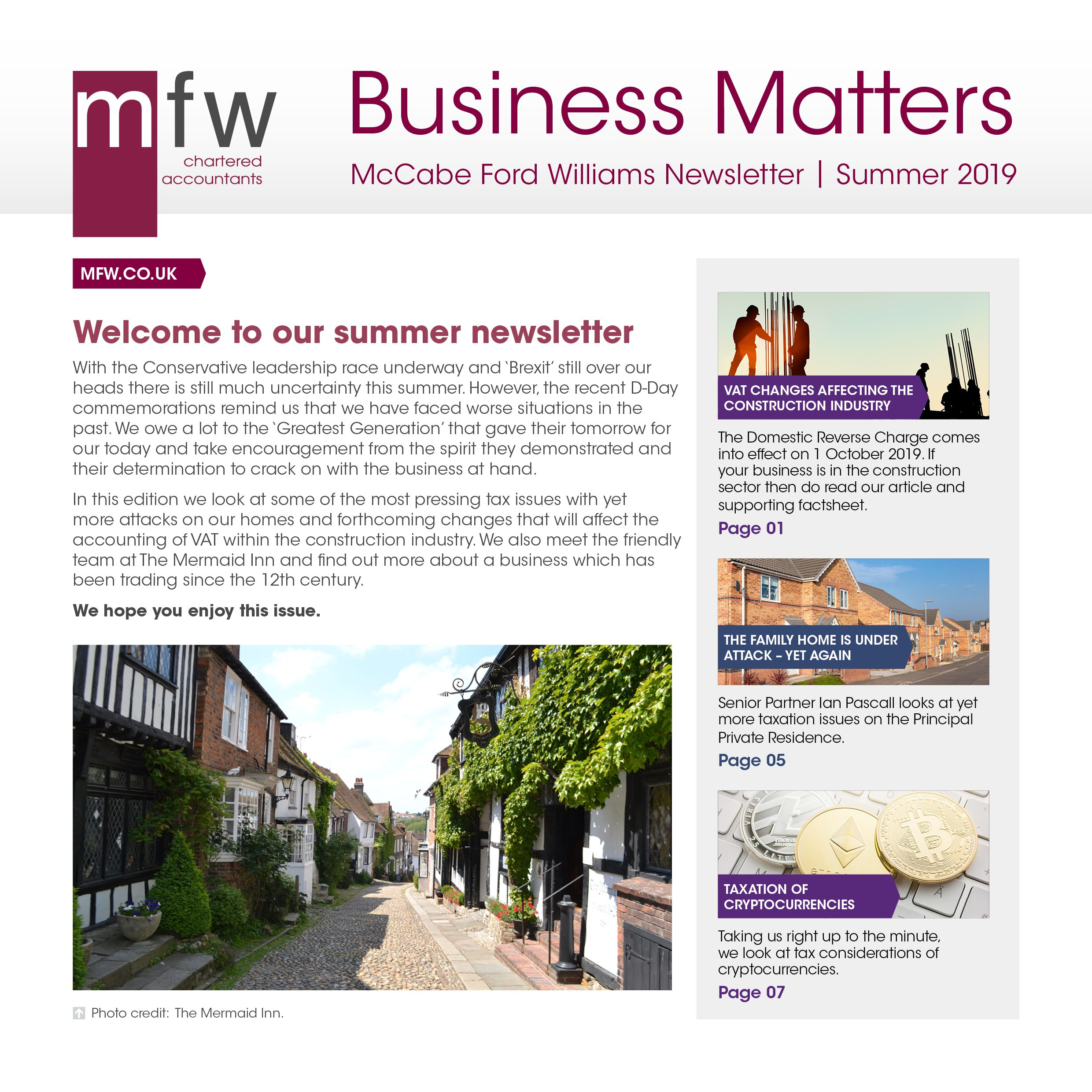 MFW Business Matters newsletter summer 2019 edition