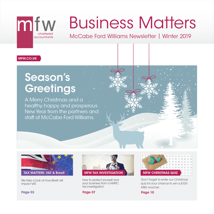 front page Business Matters winter 2019 newsletter
