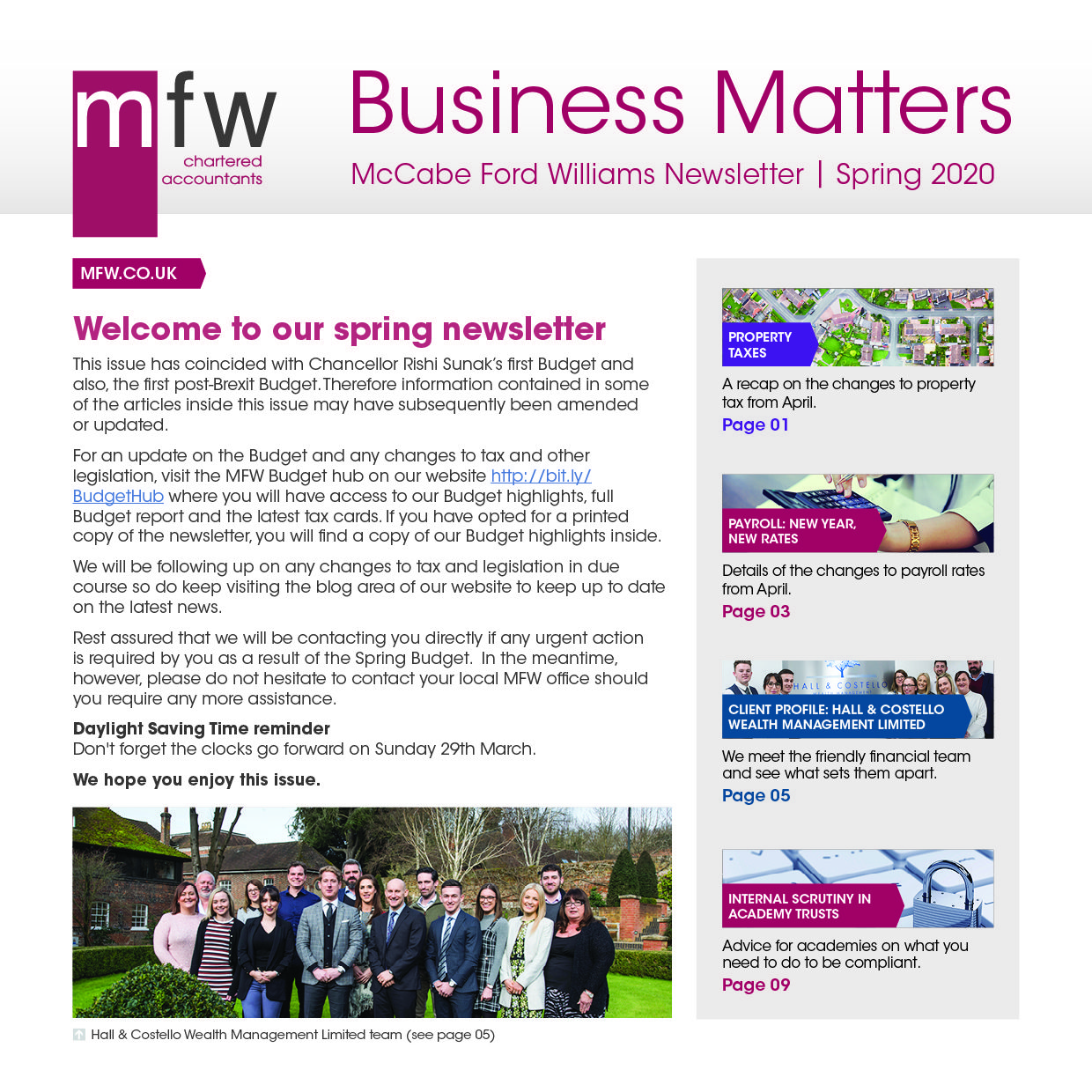 Business Matters newsletter spring 2020